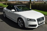 USED 2010 10 AUDI A5 2.0 TFSI S LINE 2d CONVERTIBLE AUTO 208 BHP SERVICE HISTORY, SPORTS LEATHER SEATS HEATED, ALLOY WHEELS, SATELLITE NAVIGATION, BLUETOOTH