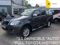 USED 2016 16 TOYOTA HI-LUX 3.0 INVINCIBLE 4X4 D-4D DCB 1d AUTO 169 BHP*LOW MILES*FULL TOYOTA SERVICE HISTORY*