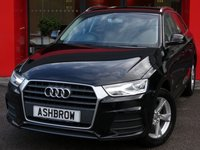 USED 2015 65 AUDI Q3 2.0 TDI SE 5d 150 S/S 3 YRS RAC WARRANTY INCLUDED, 1 OWNER FROM NEW, FULL SERVICE HISTORY, UPGRADE SAT NAV, £30 ROAD TAX (119 G/KM), DAB RADIO, BLUETOOTH PHONE & MUSIC STREAMING, AUDI DRIVE SELECT, 17 INCH 5 ARM ALLOYS, LED XENON LIGHTS, SILVER ROOF RAILS, GREY CLOTH INTERIOR, SPORT SEATS WITH ELECTRIC LUMBAR SUPPORT, LEATHER MULTIFUNCTION STEERING WHEEL, AUTO LIGHTS & WIPERS, AUDI MUSIC INTERFACE, DUAL CLIMATE AIR CON, ELECTRIC WINDOWS x4, ELECTRIC HEATED DOOR MIRRORS, CD HIFI WITH 2x SD CARD READERS, TYRE PRESSURE MONITORING SYSTEM, VAT Q