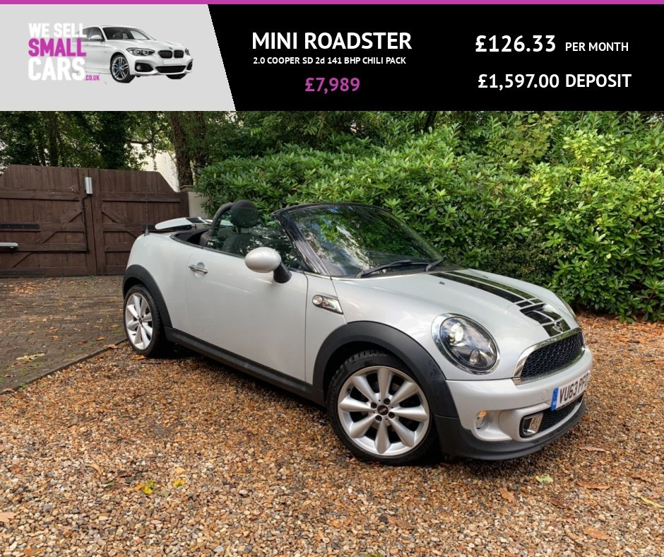 """USED 2013 63 MINI ROADSTER 2.0 COOPER SD 2d 141 BHP CHILI PACK 2 OWNER LOW MILES FULL SERVICE CHILI PACK HALF LEATHER 17"""" ALLOYS"""