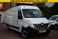 USED 2018 18 RENAULT MASTER 2.3 LM35 BUSINESS ENERGY DCI 1d 145 BHP An April 2018 Euro 6 compliant Renault Master LWB LM35 dci 145 FWD Medium roof Business edition van in white priced at just £12499 + vat.