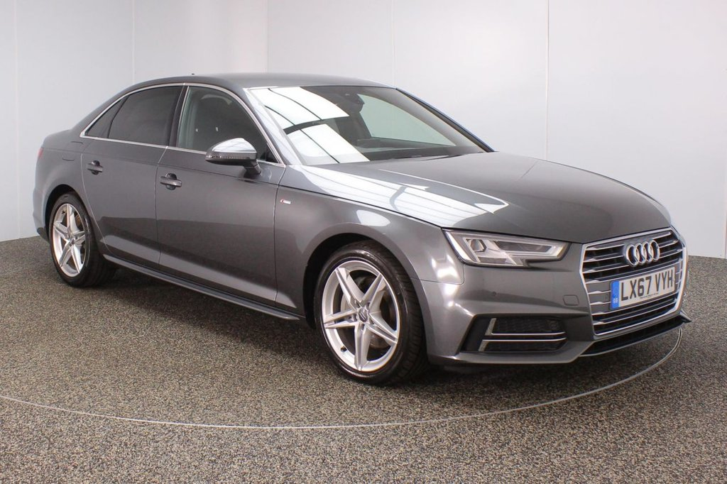 USED 2017 67 AUDI A4 2.0 TDI S LINE 4DR SAT NAV HALF LEATHER SEATS 1 OWNER 188 BHP SERVICE HISTORY + HALF LEATHER SEATS + SATELLITE NAVIGATION + PARKING SENSOR + BLUETOOTH + CRUISE CONTROL + CLIMATE CONTROL + MULTI FUNCTION WHEEL + DAB RADIO + PRIVACY GLASS + ELECTRIC WINDOWS + ELECTRIC MIRRORS + 18 INCH ALLOY WHEELS