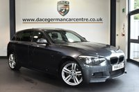 """USED 2014 14 BMW 1 SERIES 2.0 118D M SPORT 5DR AUTO 141 BHP full service history  Finished in a stunning mineral metallic grey styled with 18"""" alloys. Upon opening the drivers door you are presented with Alcantara/anthracite upholstery, full service history, satellite navigation, bluetooth, Cruise control with brake function, privacy glass, DAB radio, Rain sensors,  Automatic air conditioning, Fog lights, Sports seat, parking sensors"""
