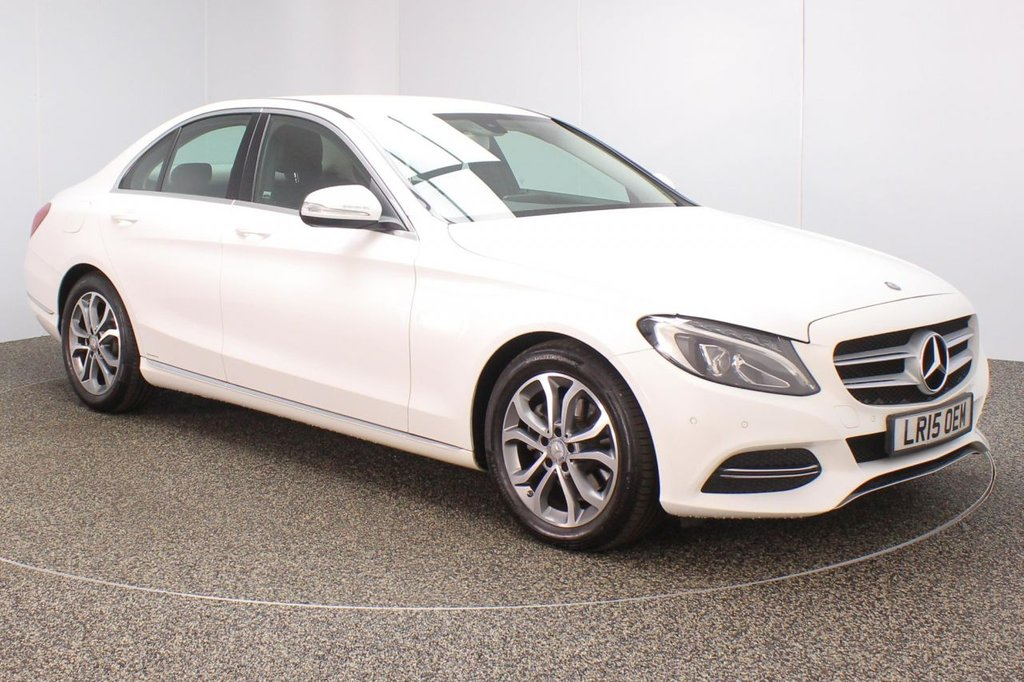 USED 2015 15 MERCEDES-BENZ C CLASS 2.1 C220 BLUETEC SPORT 4DR SAT NAV HEATED LEATHER 170 BHP FULL MERCEDES SERVICE HISTORY + £20 12 MONTHS ROAD TAX + HEATED LEATHER SEATS + SATELLITE NAVIGATION + REVERSE CAMERA + PARKING SENSOR + BLUETOOTH + CRUISE CONTROL + CLIMATE CONTROL + MULTI FUNCTION WHEEL + DAB RADIO + XENON HEADLIGHTS + RADIO/C/USB + ELECTRIC WINDOWS + ELECTRIC MIRRORS + 17 INCH ALLOY WHEELS
