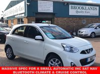 USED 2014 64 NISSAN MICRA 1.2 ACENTA 5 DOOR FINISHED IN PEARL WHITE AUTO 79 BHP MASSIVE SPEC FOR A SMALL AUTOMATIC INC SAT NAV BLUETOOTH CLIMATE & CRUISE CONTROL