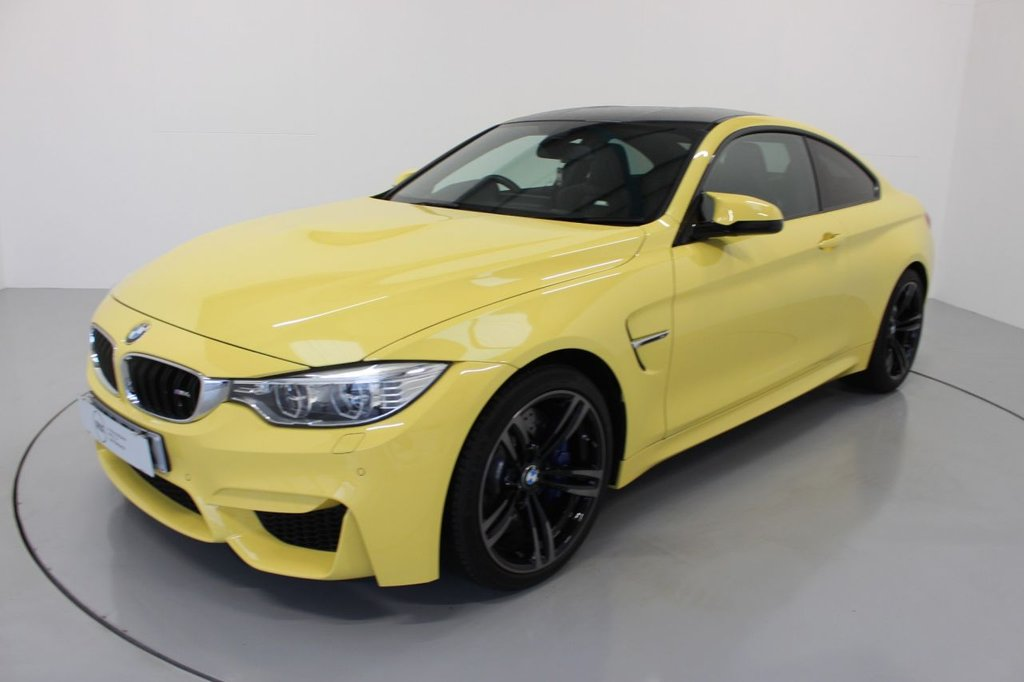 USED 2016 66 BMW M4 3.0 2d AUTO 426 BHP-1 OWNER CAR-RARE DAKAR YELLOW,-ONLY COVERED 800 MILES-HEATED BLACK MERINO LEATHER-ELECTRIC MEMORY SEATS-19