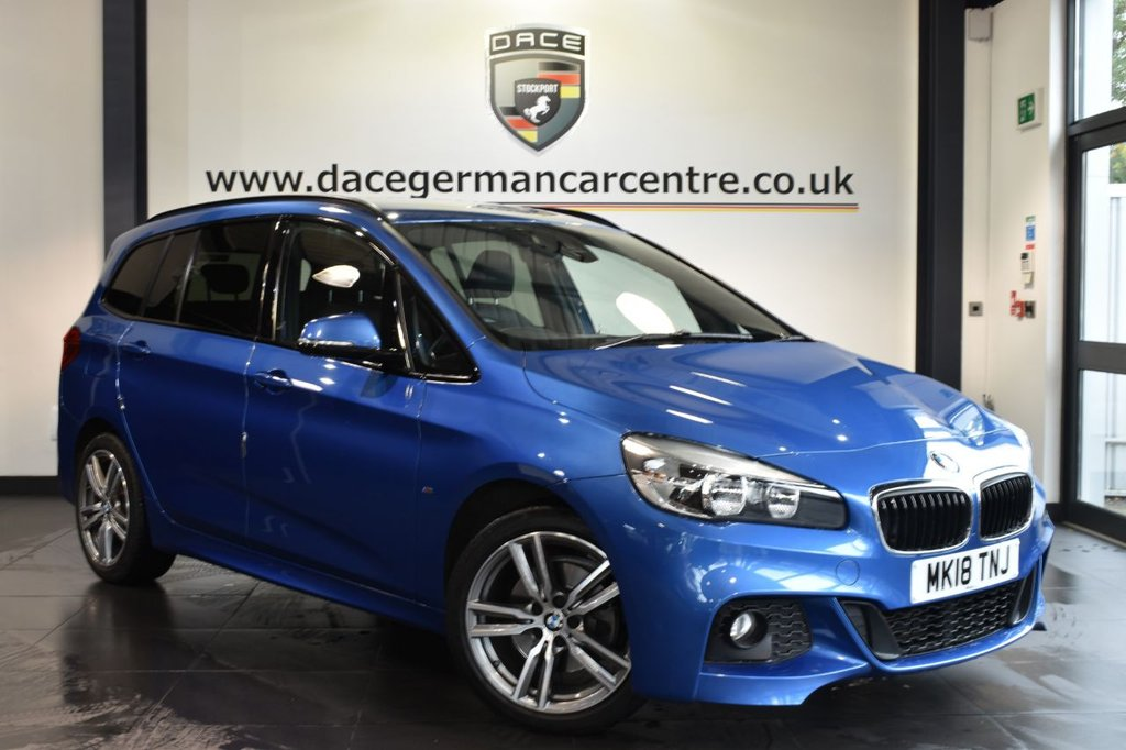 """USED 2018 18 BMW 2 Series GRAN TOURER 2.0 218D M SPORT  AUTO 5DR (7 SEATS) 148 BHP + FSH +  Finished in stunning estoril metallic blue with black leather interior styled with 18"""" alloys. Upon entering the car you are presented with full bmw service history, satellite navigation, bluetooth, cruise control, heated sport seats, reverse camera, rain sensors and DAB radio"""