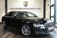 """USED 2013 63 AUDI A8 3.0 TDI SE 4DR AUTO 201 BHP excellent service history When walking around the exterior of this immaculate audi A8 you will see it's Finished in stunning black styled with brand new 19"""" alloys, also privacy glass, xenon lights, daytime running lights, front/rear parking sensors, Upon opening the car you are presented with full grey leather interior, excellent service history, satellite navigation, bluetooth, heated electric seats with memory, xenon lights, cruise control, dab radio, 4 way climate control, heated electric folding mirrors, auto stop/s"""