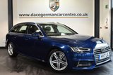 """USED 2017 17 AUDI A4 AVANT 2.0 AVANT TDI S LINE 5DR AUTO 148 BHP full service history Finished in a stunning scuba metallic blue styled with 18"""" alloys. Upon opening the drivers door you are presented with half black leather interior, full service history, satellite navigation, bluetooth, heated seats, cruise control, DAB radio, climate control, heated mirrors, usb/aux port, parking sensors"""