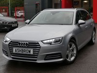 USED 2016 16 AUDI A4 AVANT 2.0 TDI ULTRA SPORT 5d 150 S/S UPGRADE FRONT & REAR PARKING SENSORS WITH DISPLAY, SAT NAV, AUDI SMART PHONE WITH APPLE CAR PLAY & ANDROID AUTO, AUDI CONNECT, DAB RADIO, CRUISE CONTROL WITH SPEED LIMITER, LED DAYTIME RUNNING LIGHTS, BLUETOOTH PHONE & MUSIC STREAMING, ELECTRIC TAILGATE, SILVER ROOF RAILS, GREY CLOTH INTERIOR, SPORT SEATS, LEATHER MULTIFUNCTION STEERING WHEEL, LIGHT & RAIN SENSORS, AUDI DRIVE SELECT, KEYLESS START, WIFI, AUX INPUT, 2x USB PORTS, 1 OWNER FROM NEW, SERVICE HISTORY, £20 ROAD TAX (104 G/KM), VAT Q