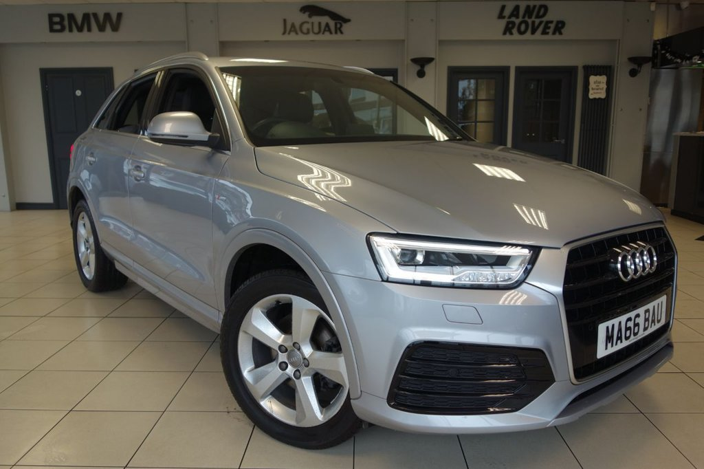 USED 2016 66 AUDI Q3 1.4 TFSI S LINE NAVIGATION 5d AUTO 148 BHP FINISHED IN STUNNING SILVER WITH BLACK, HALF LEATHER, S LINE EMBOSSED SEATS SEATS + FULL SERVICE HISTORY + SATELLITE NAVIGATION + AUDI MULTIMEDIA INCLUDING BLUETOOTH MEDAI + DAB DIGITAL RADIO + FRONT SPORTS SEATS + CLIMATE CONTROLLED DUAL ZONE AIRCONDITIONING + AUDI DRIVE SELECT + AUDI MUSIC INTERFACE + LED DAYTIME RUNNING LIGHTS + AUTOMATIC HEADLIGHTS + HEATED POWERFOLD MIRRORS