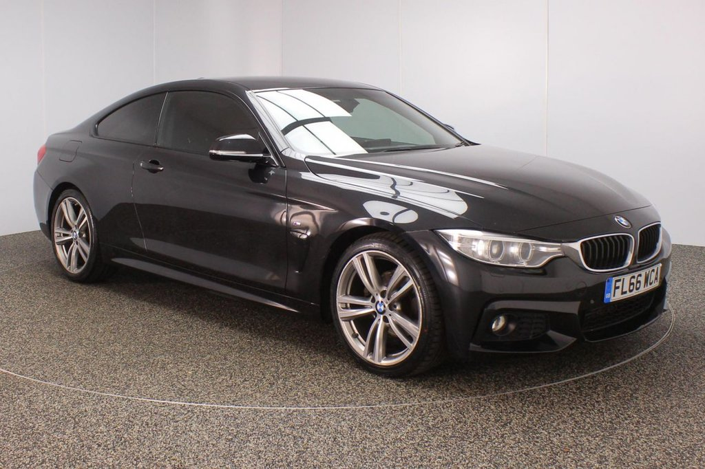 USED 2016 66 BMW 4 SERIES 2.0 420D M SPORT 2DR SAT NAV HEATED LEATHER SEATS 1 OWNER 188 BHP HEATED LEATHER SEATS + SATELLITE NAVIGATION PROFESSIONAL + PARKING SENSOR + BLUETOOTH + CRUISE CONTROL + CLIMATE CONTROL + MULTI FUNCTION WHEEL + DAB RADIO + XENON HEADLIGHTS + PRIVACY GLASS + RADIO/CD/AUX/USB + ELECTRIC WINDOWS + ELECTRIC MIRRORS + 19 INCH ALLOY WHEELS