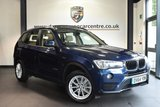 """USED 2014 64 BMW X3 2.0 XDRIVE20D SE 5DR AUTO 188 BHP full bmw service history Finished in a stunning deep sea metallic blue styled 17"""" alloys. Upon opening the drivers door you are presented with full nevada leather interior, full bmw service history, satellite navigation, bluetooth, heated seats, dab radio, panoramic sunroof, Cruise control, Automatic air conditioning, Rain sensors, Fog lights, Light package, parking sensors"""