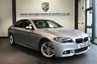 """USED 2015 15 BMW 5 SERIES 3.0 530D M SPORT 4DR AUTO 255 BHP full service history Finished in a stunning glacier metallic silver styled with 18"""" alloys. Upon opening the drivers door you are presented with full leather interior, full service history, pro satellite navigation, bluetooth, rear-view camera,  LED Fog lights, DAB radio,  Automatic air conditioning, heated seats, Headlight cleaning system, Connected Drive Services, Auto start/stop function, parking sensors"""