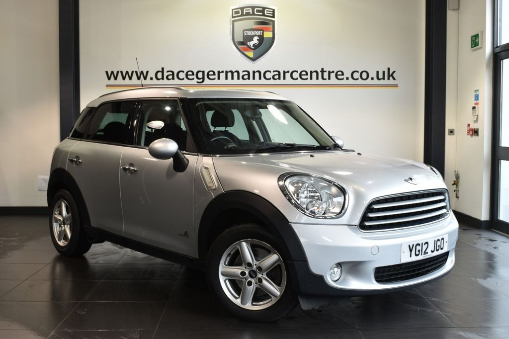 "USED 2012 12 MINI COUNTRYMAN 1.6 COOPER D ALL4 5DR 112 BHP full service history Finished in a stunning crystal metallic silver styled with 16"" alloys. Upon opening the drivers door you are presented with carbon cloth upholstery, full service history, bluetooth, dab radio, light package, Dynamic traction control, Automatic air conditioning, pepper pack, Heated door mirrors, Auto start/stop function, Fog lights, parking sensors"