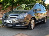 USED 2013 13 VAUXHALL ZAFIRA 1.6 DESIGN 5d 113 BHP 2 OWNER, FULL SERVICE HISTORY, 7 SEATER, 1YR MOT EXCELLENT CONDITION,  ALLOYS, AIR CON,  RADIO CD, E/WINDOWS, R/LOCKING, FREE WARRANTY, FINANCE AVAILABLE, HPI CLEAR, PART EXCHANGE WELCOME,