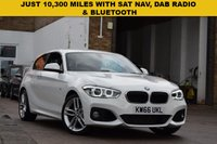 USED 2016 66 BMW 1 SERIES 1.5 118I M SPORT 3d AUTO 134 BHP December 2016 BMW 118i M Sport 3 dr in white with SAT NAV AND PRIVACY GLASS. Just 10,000 miles with BMW service history. Fitted with the 1.5 petrol engine that is very economical, plus its cheap to tax and insure.