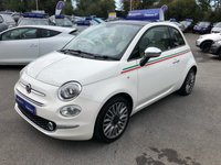 USED 2016 66 FIAT 500 0.9 TWINAIR LOUNGE 3d 105 BHP IN WHITE WITH 1 OWNER, FULL FIAT SERVICE HISTORY, AMAZING SPEC INCLUDING SAT NAV AND PANORAMIC ROOF, ONLY 38000 MILES AND IS ULEZ COMPLIANT Approved Cars are pleased to offer this stunning 2016 Fiat 500 Twinair Lounge in white with 1 owner and only 39000 miles. The car is in immaculate condition and has a huge spec including a 9inch touchscreen radio with built in SAT NAV, Bluetooth, vehicle monitoring system and telephone connectivity. The two front folding seats provide access to the rear seats and they are all half cream leather and grey and cream tartan cloth. It has a multi functional steering wheel, panoramic roof