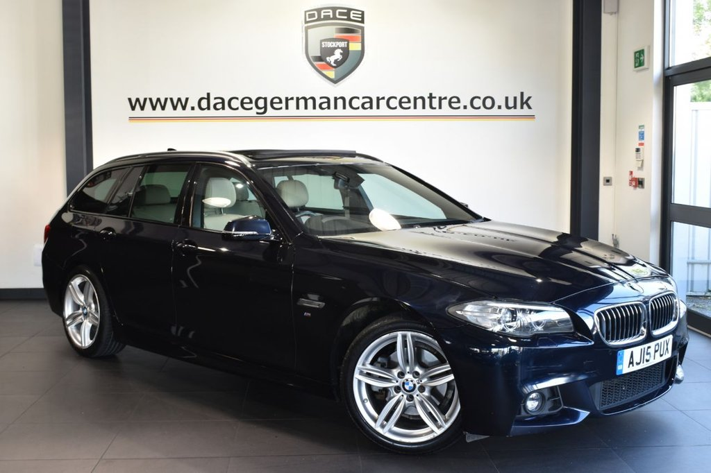"""USED 2015 15 BMW 5 SERIES 2.0 520D M SPORT TOURING 5DR AUTO 188 BHP full service history Finished in a stunning carbon black styled with 19"""" alloys. Upon opening the drivers door you are presented with full leather interior, full service history, pro satellite navigation, bluetooth, panoramic roof, heated sport seats, Harman/Kardon surround sound system, , Headlight cleaning system, Driving experience switch incl. ECO PRO, Auto start/stop function, cruise control, M Sports package, automatic boot lid, parking sensors"""