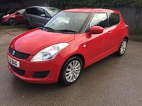 USED 2012 12 SUZUKI SWIFT 1.2 SZ3 DDIS 5d 75 BHP MOT 05/20 RED WITH BLACK CLOTH TRIM. 16 INCH ALLOYS. COLOUR CODED TRIMS. AIR CON. R/CD PLAYER. MOT 05/20. AGE/MILEAGE RELATED SALE. P/X CLEARANCE CENTRE LS24 8EJ. TEL 01937 849492 OPTION 4