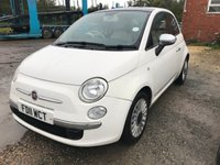 USED 2011 11 FIAT 500 1.2 LOUNGE 3d 69 BHP MOT 06/20 FSH WHITE WITH BLACK CLOTH TRIM. 15 INCH ALLOYS. COLOUR CODED TRIMS. SUNROOF. BLUETOOTH PREP. R/CD PLAYER. MOT 06/20. FULL SERVICE HISTORY. AGE/MILEAGE RELATED SALE. P/X CLEARANCE CENTRE LS24 8EJ. TEL 01937 849492 OPTION 4