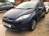 USED 2011 11 FORD FIESTA 1.2 EDGE 5d 81 BHP AIR CON ALLOYS MOT 05/20 BLUE WITH BLACK CLOTH TRIM. 15 INCH ALLOYS. COLOUR CODED TRIMS. PRIVACY GLASS. AIR CON. R/CD PLAYER. MFSW. MOT 05/20. AGE/MILEAGE RELATED SALE. P/X CLEARANCE CENTRE LS24 8EJ. TEL 01937 849492 OPTION 4