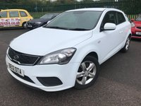USED 2012 12 KIA CEED 1.4 PRO CEED VR-7 3d 89 BHP MOT 05/20 WHITE WITH BLACK CLOTH TRIM. 16 INCH ALLOYS. COLOUR CODED TRIMS. PARKING SENSORS. BLUETOOTH PREP. AIR CON. R/CD PLAYER. MOT 09/20. AGE/MILEAGE RELATED SALE. P/X CLEARANCE CENTRE LS24 8EJ TEL 01937 849492 OPTION 4