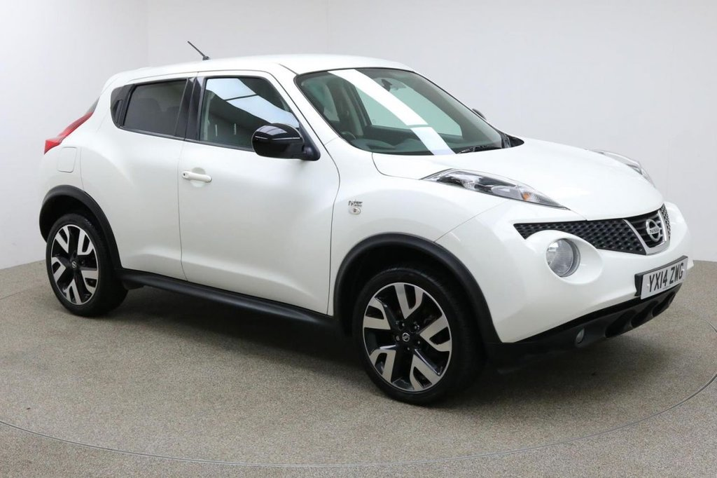 USED 2014 14 NISSAN JUKE 1.5 DCI N-TEC 5d 109 BHP FINISHED IN A STUNNING WHITE + FULL SERVICE HISTORY + £30 ROAD TAX + SAT-NAV + BLUETOOTH + AUX/USB + REAR CAMERA + CLIMATE CONTROL + AIR CON + MULTI FUNCTION STEERING WHEEL + CRUISE CONTROL + SPEED LIMITER + ELECTRIC MIRRORS + FOLDING MIRRORS + ELECTRIC WINDOWS + 18 INCH ALLOY WHEELS