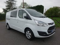 USED 2016 65 FORD TRANSIT CUSTOM 290 LIMITED L2 LWB DCIV DOUBLE CAB VAN 2.2 TDCI 125 BHP Popular High Specification Limited Custom Double Cab Van With Many Extras! Very Clean Example!!