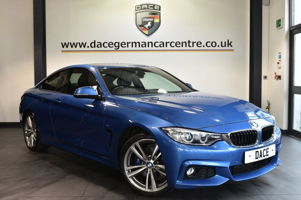 """USED 2016 65 BMW 4 SERIES 2.0 420I XDRIVE M SPORT 2DR 181 BHP full bmw service history Finished in a stunning estoril metallic blue styled with 19"""" alloys. Upon opening the drivers door you are presented with full leather interior, full bmw service history, pro satellite navigation, bluetooth, xenon lights, Harman/Kardon surround sound, heated seats, dab radio, cruise control, light package, Connected Drive Services, Headlight cleaning system, Automatic air conditioning, Rain sensors, privacy glass, M Sports package, parking sensors"""