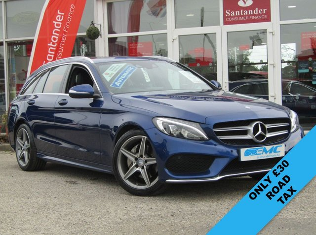 USED 2015 64 MERCEDES-BENZ C CLASS 2.1 C220 BLUETEC AMG LINE 5d AUTO 170 BHP STUNNING, 1 OWNER, £30 Road Tax MERCEDES C220 AMG LINE 2.1 BLUETEC EST. Finished in CANVASITE BLUE METALIC with contrasting BLACK HEATED LEATHER. This C-Class covers all the important Estate bases. It,s comfortable, cheap to run and comes with a posh interior. Features include SAT NAV, REAR REVERSING CAMERA, £30 Road Tax, Cruise, DAB, B/Tooth and much more. Mercedes Dealer serviced at 15169 miles, 29947 miles, 44428 miles, 63640 miles and recently at 80151 miles on 7/8/2019.