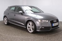 USED 2014 14 AUDI A3 2.0 TDI S LINE 5DR SAT NAV HALF LEATHER SEATS 1 OWNER 148 BHP SERVICE HISTORY + £20 12 MONTHS ROAD TAX + HALF LEATHER SEATS + SATELLITE NAVIGATION + PARKING SENSOR + BLUETOOTH + CLIMATE CONTROL + MULTI FUNCTION WHEEL + DAB RADIO + XENON HEADLIGHTS + ELECTRIC WINDOWS + ELECTRIC MIRRORS + 18 INCH ALLOY WHEELS