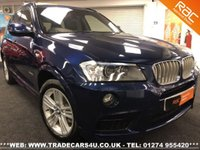USED 2011 11 BMW X3  3.0 DIESEL XDRIVE30D M SPORT 8 SPEED AUTO UK DELIVERY* RAC APPROVED* FINANCE ARRANGED* PART EX