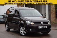 USED 2014 14 VOLKSWAGEN CADDY MAXI 1.6 C20 LIFE TDI 5d 101 BHP NO VAT on this 5 seat Vw Caddy C20 1.6tdi LIFE with twin side sliding doors and a single tailgate. Lowered floor with a wheelchair access ramp and electric belts. AIR CON AND ALLOY WHEELS.
