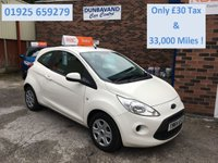 USED 2015 64 FORD KA 1.2 EDGE 3d 69 BHP Only £30 Road Tax & 33,000 Miles, 12 Mths Mot & Pre Sale Service, Low Insurance Group !