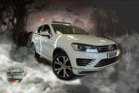 USED 2016 16 VOLKSWAGEN TOUAREG 3.0 V6 R-LINE TDI BLUEMOTION TECHNOLOGY 5d AUTO 259 BHP FINISHED IN STUNNING FUJI WHITE WITH FULL BLACK LEATHER UPHOLSTERY + SATELLITE NAVIGATION + PANORAMIC SUNROOF + DAB DIGITAL RADIO + BLUETOOTH + AIR CONDITIONING + CLIMATE CONTROL + CRUISE CONTROL + 20 INCH MALLORY ALLOY WHEELS