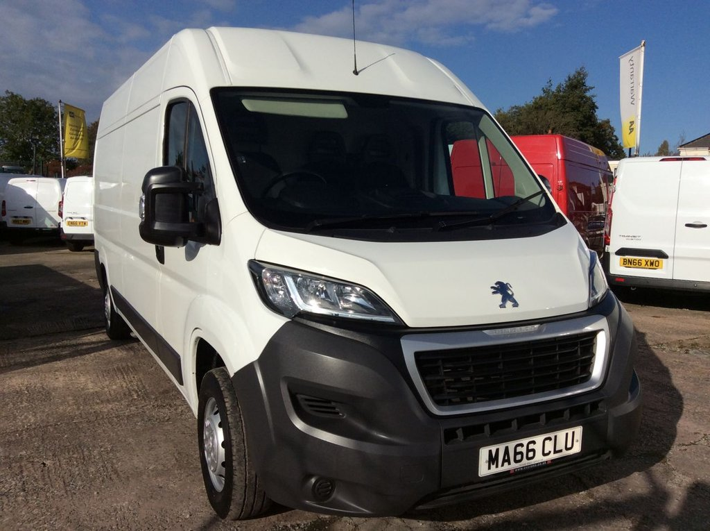USED 2016 66 PEUGEOT BOXER LWB 2.0 BLUE HDI 335 L3H2 PROFESSIONAL 130 BHP 1 OWNER FSH NEW MOT FREE 6 MONTHS AA WARRANTY INCLUDING RECOVERY AND ASSIST NEW MOT EURO 6 SPARE KEY ELECTRIC WINDOWS AND MIRRORS BLUETOOTH AIR CONDITIONING CRUISE CONTROL 6 SPEED SATELLITE NAVIGATION REAR PARKING SENSORS