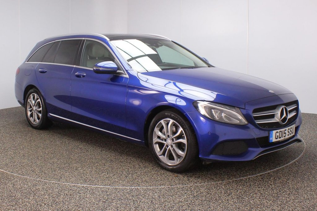 USED 2015 15 MERCEDES-BENZ C CLASS 2.1 C220 D SPORT PREMIUM 5DR SAT NAV HEATED LEATHER SEATS 1 OWNER 170 BHP FULL SERVICE HISTORY + £30 12 MONTHS ROAD TAX + HEATED LEATHER SEATS + PANORAMIC ROOF + SATELLITE NAVIGATION + REVERSE CAMERA + ACTIVE PARK ASSIST + PARKING SENSOR + BLUETOOTH + CRUISE CONTROL + MULTI FUNCTION WHEEL + CLIMATE CONTROL + ELECTRIC/MEMORY SEATS + DAB RADIO + PRIVACY GLASS + XENON HEADLIGHTS + ELECTRIC WINDOWS + ELECTRIC MIRRORS + 17 INCH ALLOY WHEELS