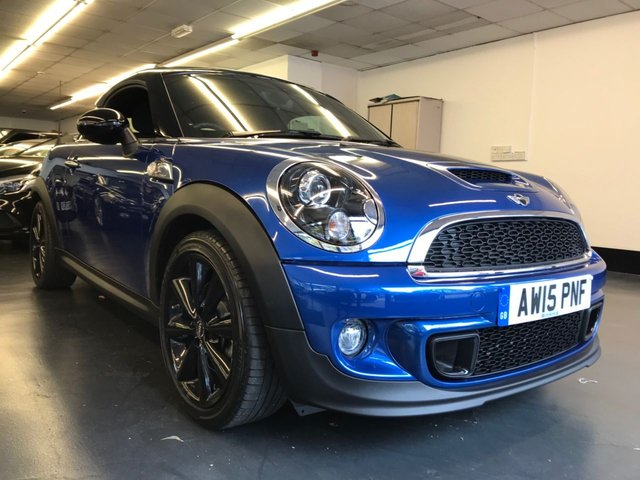 USED 2015 15 MINI COUPE 1.6 COOPER S 2d 181 BHP FULL MINI SERVICE HISTORY, ELECTRIC SPOILER, BLUETOOTH PHONE AND AUDIO, REAR PARKING SENSORS