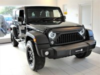 USED 2016 16 JEEP WRANGLER 2.8 SPORT UNLIMITED CRD 4d AUTO 197 BHP, Fully Loaded, JEEPSTER Exhaust, Apple Carplay Wrangler with removable hardtop panels and a huge specification including 20in RockStar ally wheels in satin black with A/T tyres, JEEPSTER quad-pipe stainless steel sports exhaust in black chrome, LED headlights with Halo daytime running lights and LED rear lights with directional indicators, Gladiator front grille (original Jeep grille option too), JEEPSTER luxury bespoke quilted Nappa leather interior with heated front seats