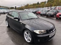 USED 2007 57 BMW 1 SERIES 3.0 130I M SPORT 3d 262 BHP Met Black, Cream leather, Sat Nav, heated seats, 18 inch ++