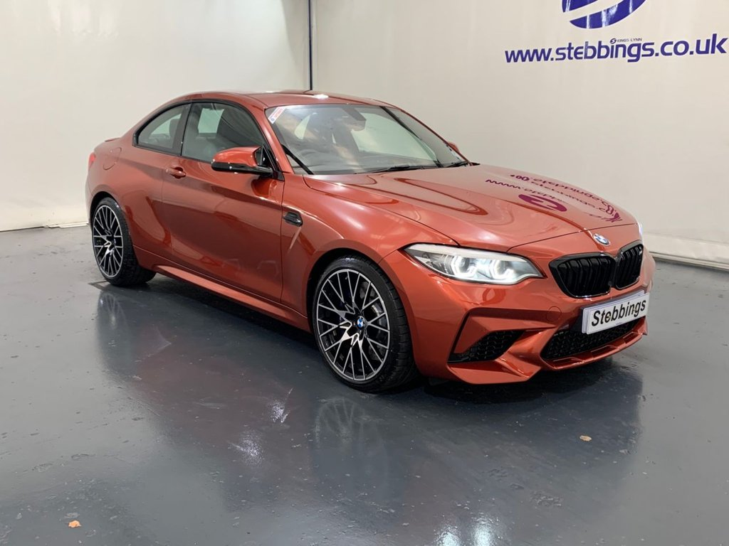 "USED 2019 68 BMW M2 3.0 M2 COMPETITION 2d 405 BHP DCT AUTOMATIC BMW PROFESSIONAL NAVIGATION, HALF DAKOTA LEATHER WITH ORANGE CONTRAST, MULTIMEDIA INTERFACE, DAB RADIO, BMW ICON ADAPTIVE HEADLIGHTS, ONLINE ENTERTAINMENT, ENHANCED BLUETOOTH WITH WIRELESS CHARGING, CRUISE CONTROL WITH BRAKING FUNCTION, DUAL ZONE CLIMATE CONTROL, M DCT WITH DRIVELOGIC TRANSMISSION, PARK DISTANCE CONTROL, AUTO LIGHTS AND WIPERS, 19"" M Y SPOKE ALLOYS"