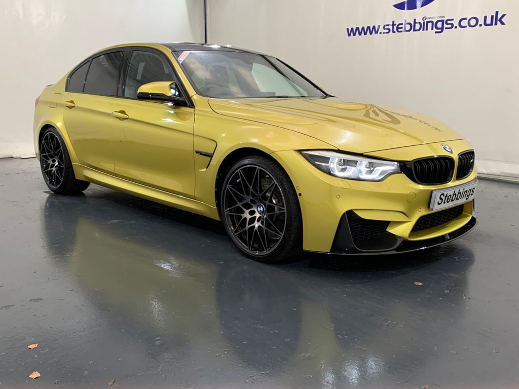 """USED 2018 67 BMW M3 3.0 M3 COMPETITION PACKAGE 4d 444 BHP DCT AUTOMATIC HEAD UP DISPLAY, BMW PROFESSIONAL NAVIGATION, BLACK MERINO LEATHER, POWER HEATED FRONT SEATS WITH DRIVER MEMORY, HARMAN KARDON SURROUND SOUND, MULTIMEDIA INTERFACE, DAB RADIO, M DCT TRANSMISSION WITH DRIVELOGIC, SURROUND VIEW WITH PARK DISTANCE CONTROL, ADAPTIVE LED HEADLIGHTS, AUTO LIGHTS AND WIPERS, DUAL ZONE CLIMATE CONTROL, CRUISE CONTROL WITH BRAKING FUNCTION, COMFORT ACCESS, ADAPTIVE CHASSIS, BLUETOOTH TELEPHONY WITH WIRELESS TECHNOLOGY, 20"""" ALLOYS"""