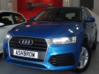 USED 2017 67 AUDI Q3 1.4 TFSI SPORT 5d AUTO 150 S/S SAT NAV, 1 OWNER, HAINAN BLUE METALLIC, XENON HEADLIGHTS W/ LED DRLS + LED OPTIC REAR LIGHTS, SAT NAV, BLUETOOTH W/ AUDIO STREAMING, DAB, AUDI MUSIC INTERFACE, SD READER X2, CRUISE, REAR ACOUSTIC PARKING SENSORS, LEATHER MULTI FUNCT STEERING WHEEL W/ PADDLE SHIFT, GREY CLOTH SPORTS SEATS W/ ELEC LUMBAR, AUDI DRIVE SELECT, AUTO LIGHTS + WIPERS, DUAL ZONE CLIMATE A/C, SPEECH DIALOGUE SYS, TYRE PRESSURE MONITORING, DIGI SPEED DISPLAY, 17 IN 5 Y SPOKE ALLOYS, SP SAVING SPARE WHEEL, ELEC HEATED MIRRORS,VAT Q.