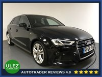 USED 2016 66 AUDI A3 2.0 TDI S LINE 5d AUTO 148 BHP AUDI HISTORY - 1 OWNER - SAT NAV - REAR SENSORS - AIR CON - BLUETOOTH - DAB RADIO - CRUISE - HALF LEATHER