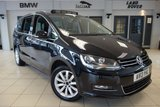 USED 2013 13 VOLKSWAGEN SHARAN 2.0 SEL TDI BLUEMOTION TECHNOLOGY 5d 175 BHP 7 SEATER FINISHED IN STUNNING METALLIC BLACK WITH FULL BLACK LEATHER HEATED SEATS + 1 OWNER FROM NEW WITH A FULL SERVICE HISTORY + SATELLITE NAVIGATION + ELECTRIC PANORAMIC ROOF + DAB DIGITAL RADIO + PARKING SENSORS FRONT/REAR + HEATED FRONT SEATS + 7 SEATS + BUILT IN CHILD SEAT + CLIMATE CONTROL + CRUISE CONTROL + DUAL ZONE AIR CONDITIONING + IN CAR ENTERTAINMENT AUX-USB-CD + ELECTRIC SEATS + 17 INCH SILVER ALLOY WHEELS + BLUETOOTH