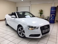 USED 2012 62 AUDI A5 2.0 TDI SE 2d 177 BHP STUNNING LOOKING A5 CONVERTIBLE / BLACK LEATHER TRIM / POWER ROOF / ONLY 30,100 MILES
