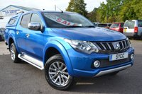 USED 2018 18 MITSUBISHI L200 2.4 DI-D 4WD BARBARIAN DCB AUTO 178 BHP ~ ELECTRIC BLUE COLOUR CODED CANOPY WITH WINDOWS ~ HEATED LEATHER ~ REVERSE CAMERA
