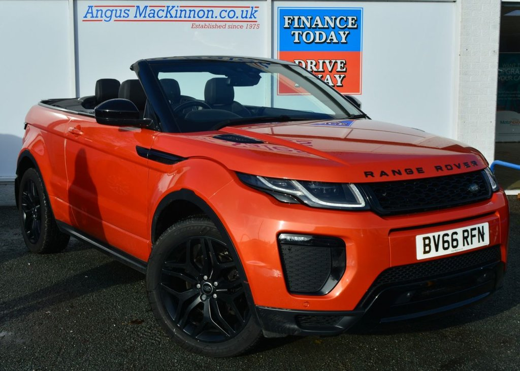 USED 2016 66 LAND ROVER RANGE ROVER EVOQUE 2.0 TD4 HSE DYNAMIC CONVERTIBLE in a Stunning Colour with Black Pack Black Alloys Black Roof with Great High Spec inc Sat Nav Heated Leather Seats Bluetooth Reversing Camera and much more spec to list STUNNING IN PHOENIX ORANGE WITH CONTRASTING BLACK ROOF AND ALLOYS