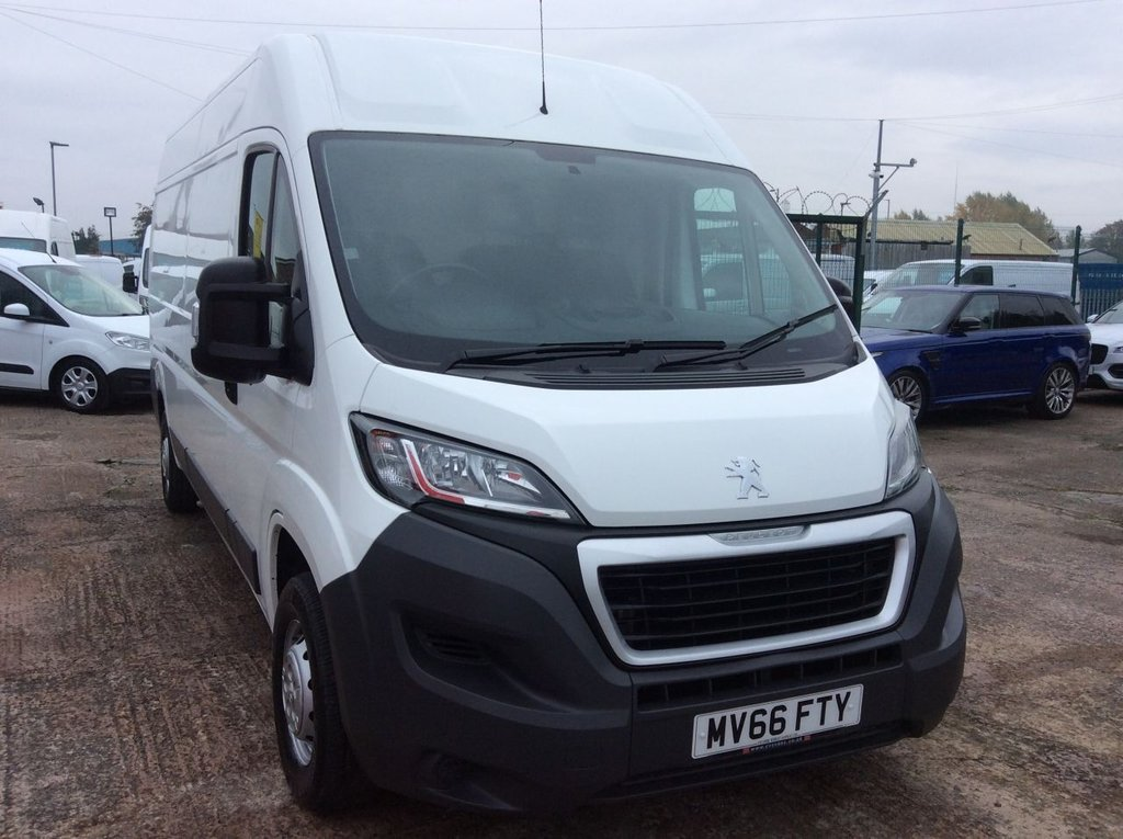 USED 2016 66 PEUGEOT BOXER LWB 2.0 BLUE HDI 335 L3H2 PROFESSIONAL 130 BHP 1 OWNER NEW MOT FREE 6 MONTHS AA WARRANTY INCLUDING RECOVERY AND ASSIST NEW MOT EURO 6 SPARE KEY ELECTRIC WINDOWS AND MIRRORS BLUETOOTH AIR CONDITIONING CRUISE CONTROL 6 SPEED SATELLITE NAVIGATION REAR PARKING SENSORS